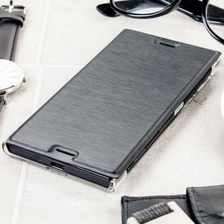 hard phones, roxfit premium sony xperia xz book case black clear you still