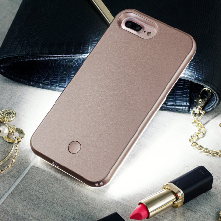 October casu iphone 7 selfie led light case rose gold Media