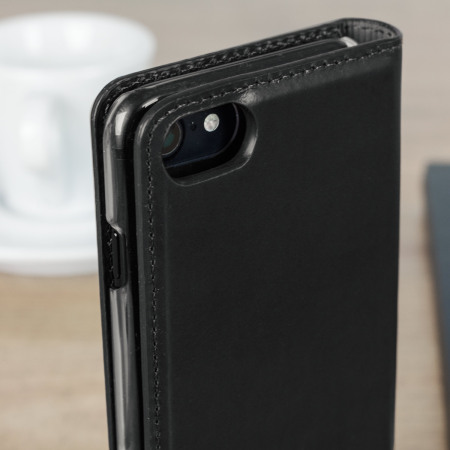 Olixar Genuine Leather iPhone 7 Executive Wallet Case - Black
