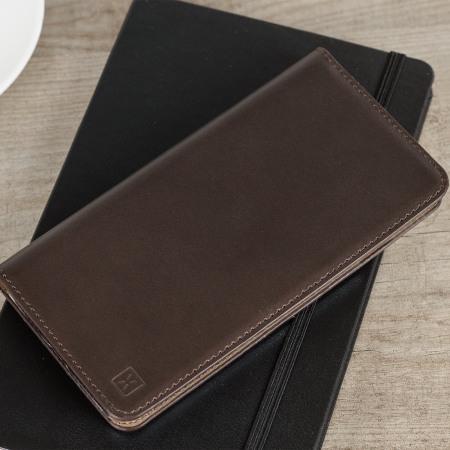 olixar genuine leather iphone 7 executive wallet case brown
