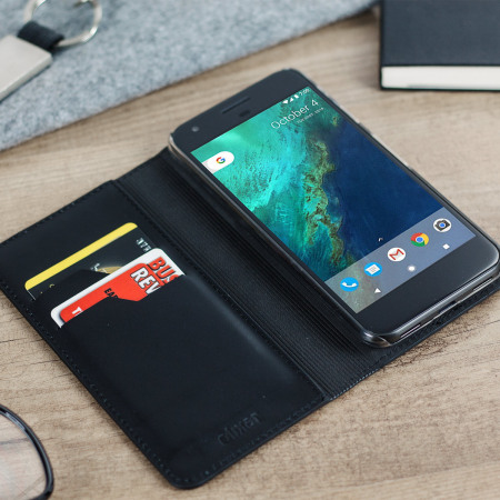 Rugged PDA olixar genuine leather google pixel wallet case black for the memory