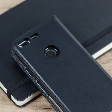 size 40 bf3ae 8d3b1 Olixar Genuine Leather Google Pixel XL Wallet Case - Black