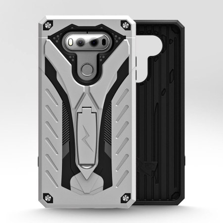 zizo static series lg v20 tough case kickstand silver black