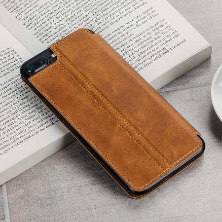 best authentic ecc67 dc70d Olixar Slim Genuine Leather iPhone 8 Plus / 7 Plus Wallet Case - Tan