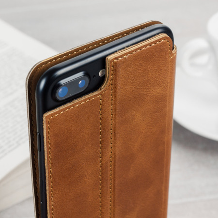 best authentic fcc18 395d0 Olixar Slim Genuine Leather iPhone 8 Plus / 7 Plus Wallet Case - Tan
