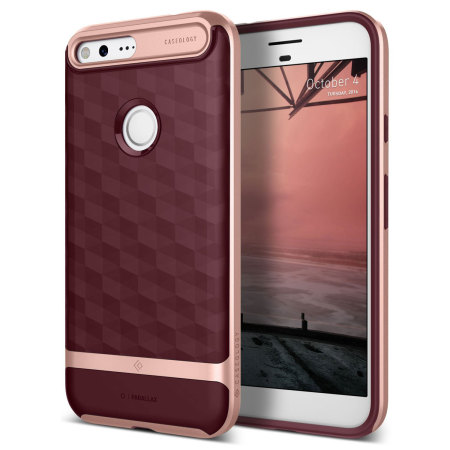Caseology Parallax Series Google Pixel XL Case - Burgundy / Rose Gold