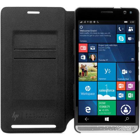 Official HP Elite X3 Genuine Leather Wallet Folio Case - Black