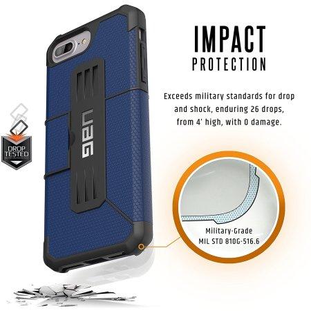 uag metropolis rugged iphone 7 plus wallet case cobalt blue