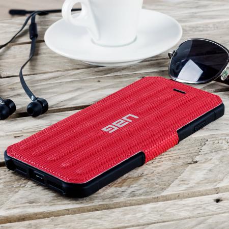 uag metropolis rugged iphone 8 plus / 7 plus wallet case - magma red
