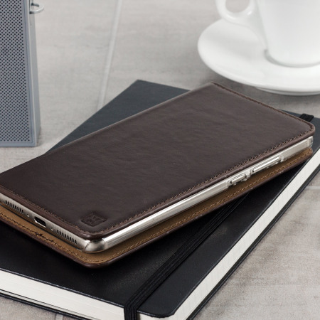 Olixar Genuine Leather Huawei Mate 9 Executive Wallet Case - Brown