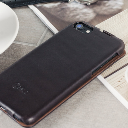 Caseual Genuine Leather iPhone 7 Flip Cover - Italian Mocha