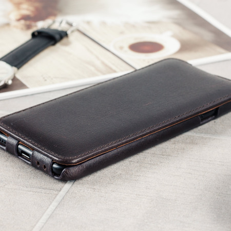 Caseual Genuine Leather iPhone 7 Flip Cover - Italian Mocha