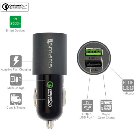 4Smarts Rapid Qualcomm 2.0 Dual USB Car Charger Grey