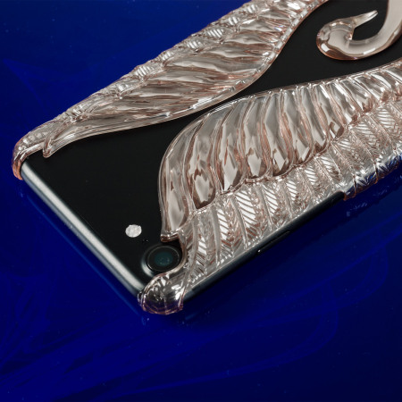 Magnificent swan clip on iphone 7 case rose gold