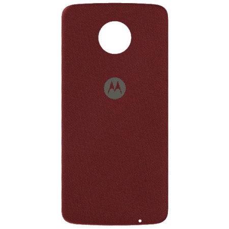 list the official motorola moto z shell nylon fabric back cover red hope