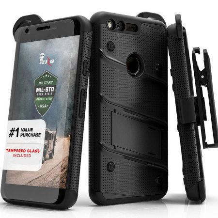 aware zizo bolt series google pixel tough case belt clip black