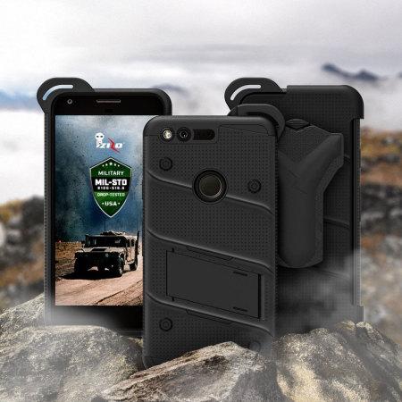 cell phones zizo bolt series google pixel tough case belt clip black Time Offer
