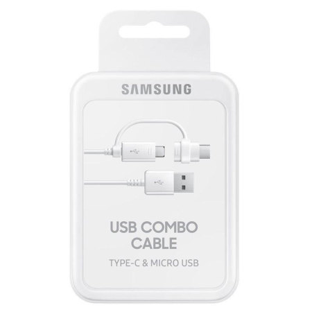 Official Samsung 2-in-1 Charge & Sync USB-C & Micro USB Cable - White
