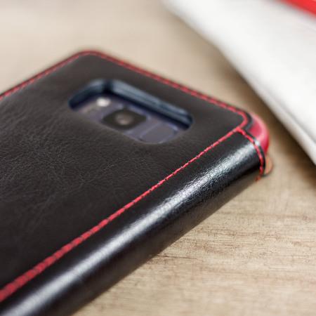 Funda Galaxy S8 VRS Design Dandy Estilo Cuero Tipo Cartera - Negra