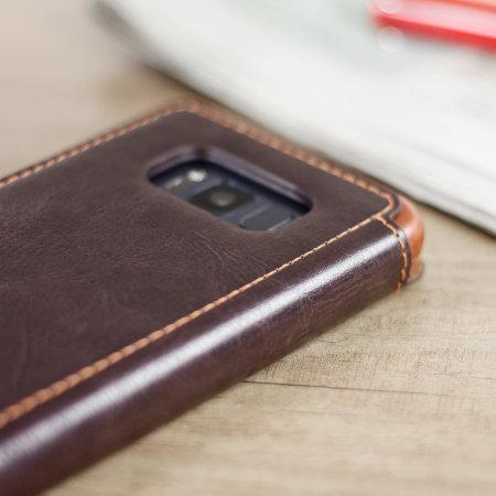 Funda Galaxy S8 VRS Design Dandy Estilo Cuero Tipo Cartera - Marrón
