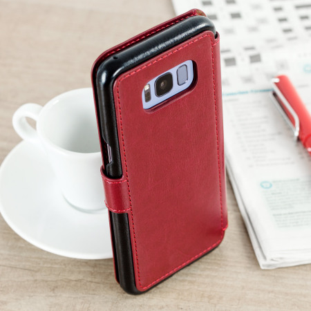 vrs design dandy leather style samsung galaxy s8 wallet case red