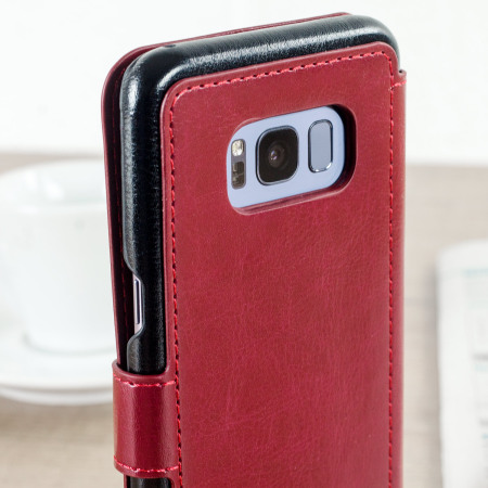 VRS Design Dandy Leather-Style Galaxy S8 Plus Wallet Case - Red