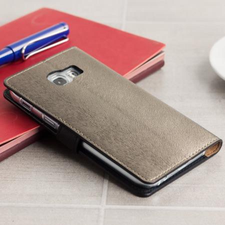Hansmare Calf Samsung Galaxy A5 2017 Wallet Case - Golden Black