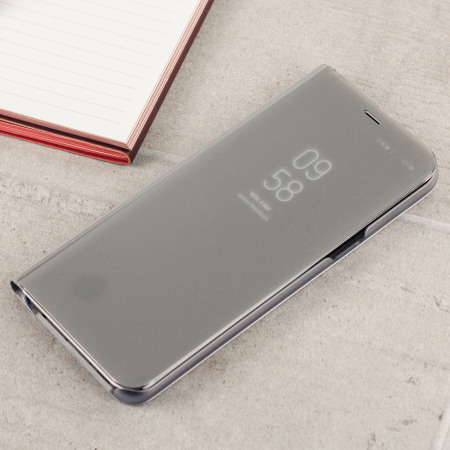 official samsung galaxy s8 clear view stand cover case silver