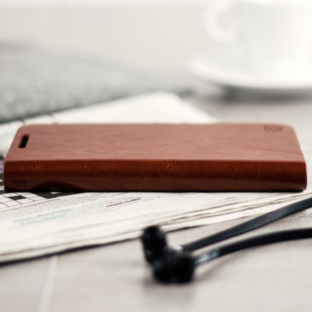 Olixar Leather-Style Galaxy J3 2017 Wallet Case - Brown - US Version