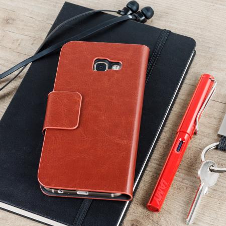 olixar leather style samsung galaxy a5 2017 wallet case brown 7 TrueSmart originated