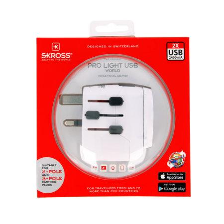 Skross World Travel Adapter Pro Light Dual USB - World Mains Charger