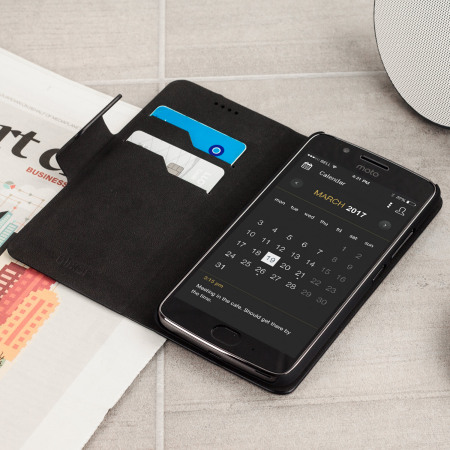 Olixar Leather-Style Moto G5 Plus Lommebok Deksel - Svart