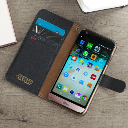 Hansmare Calf LG G6 Wallet Case - Black