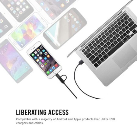 Spigen 2-in-1 Dual Cable with Micro USB and Lightning Adapter
