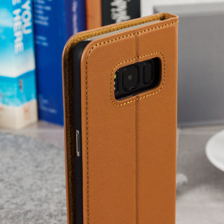 Beyza Arya Folio P Samsung Galaxy S8 Leather Wallet Stand Case - Tan