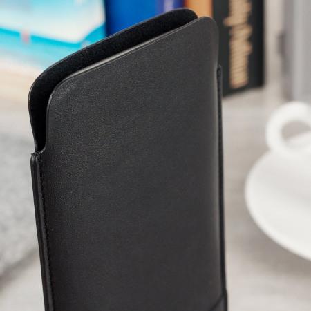 Beyza Natural ID Slim Samsung Galaxy S8 Leather Pouch Case - Black
