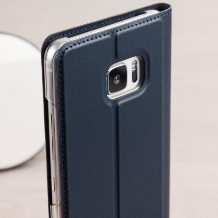 huge discount cff56 beeb2 Official HTC U Ultra Genuine Leather Flip Case - Dark Blue