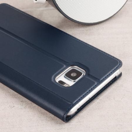 Official HTC U Ultra Genuine Leather Flip Case - Dark Blue