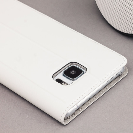 Official HTC U Ultra Genuine Leather Flip Case - Milky White