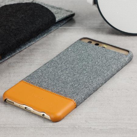 Official Huawei P10 Plus Mashup Fabric / Leather Skal - Ljusgrå