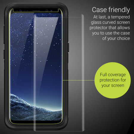 Olixar Samsung Galaxy S8 Case Compatible Glass Screen Protector: Clear