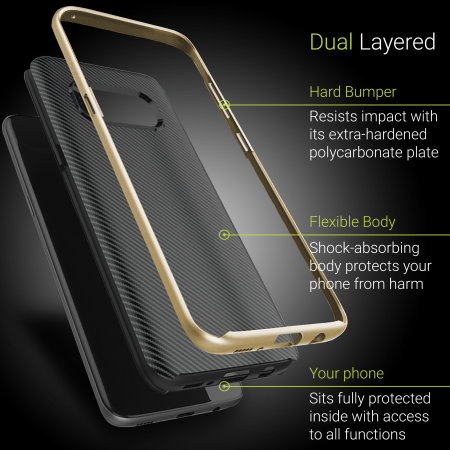 Olixar X-Duo Samsung Galaxy S8 Case - Carbon Fibre Gold