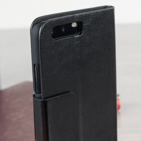 Olixar Leather-Style Huawei P10 Plus Wallet Stand Case - Black