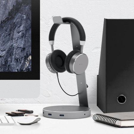 satechi smart headphone stand w3x usb ports 3 5mm aux port also work