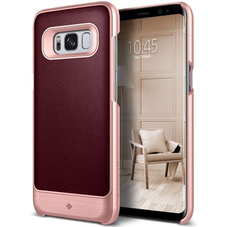 Caseology Fairmont Galaxy S8 Plus Leather-Style Case - Cherry Oak