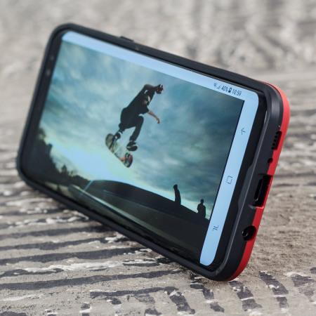 Olixar X-Trex Samsung Galaxy S8 Robuuste Credit Card Case - Rood / Zwart