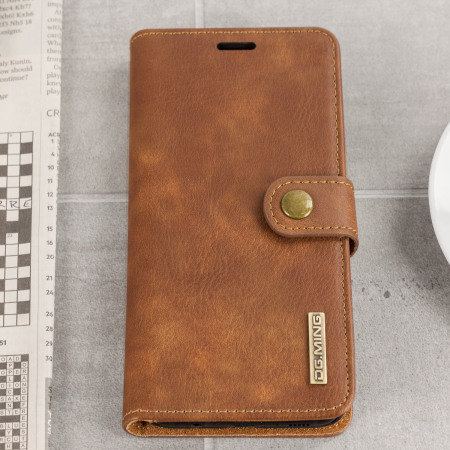 2-in-1 Magnetic Samsung Galaxy S8 Wallet / Shell Case - Tan