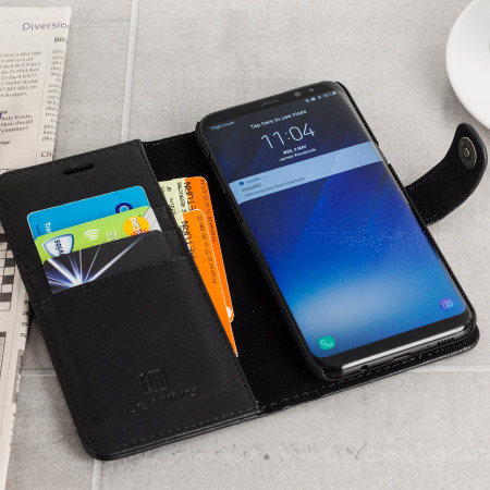 2-in-1 Magnetic Samsung Galaxy S8 Plus Wallet / Shell Case - Black