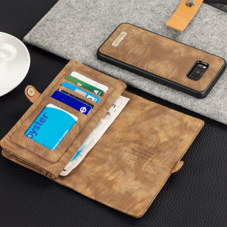 luxury samsung galaxy s8 leather style 3 in 1 wallet case tan brother has