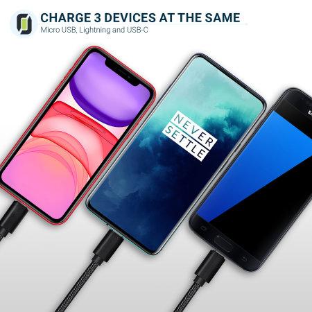 Olixar 3-i-1 solid, flettet USB-C-, hurtiglading- og micro-USB-kabel
